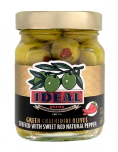 Green Olives Stuffed with Sweet Red Natural Pepper Colosal Ideal 190gr